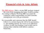financial crisis in asia debate