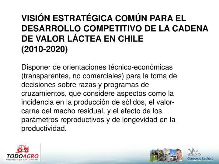 VISIÓN ESTRATÉGICA COMÚN PARA EL DESARROLLO COMPETITIVO DE LA CADENA DE VALOR LÁCTEA EN CHILE