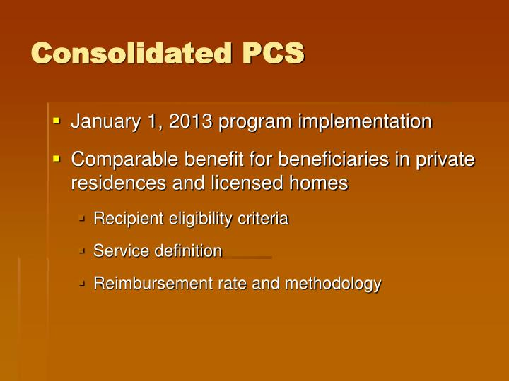 Consolidated pcs