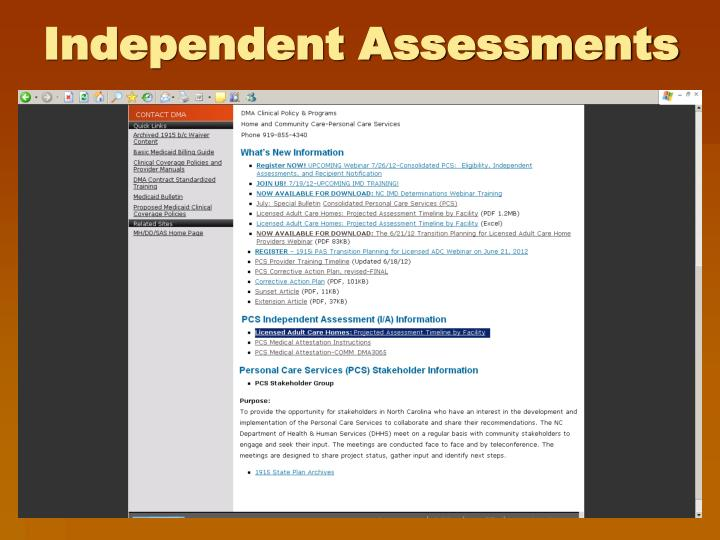 Independent Assessments