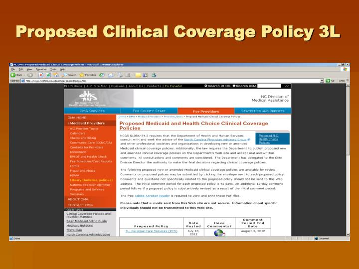 Proposed Clinical Coverage Policy 3L
