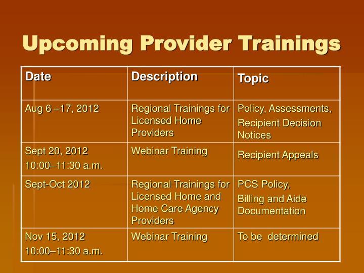 Upcoming Provider Trainings