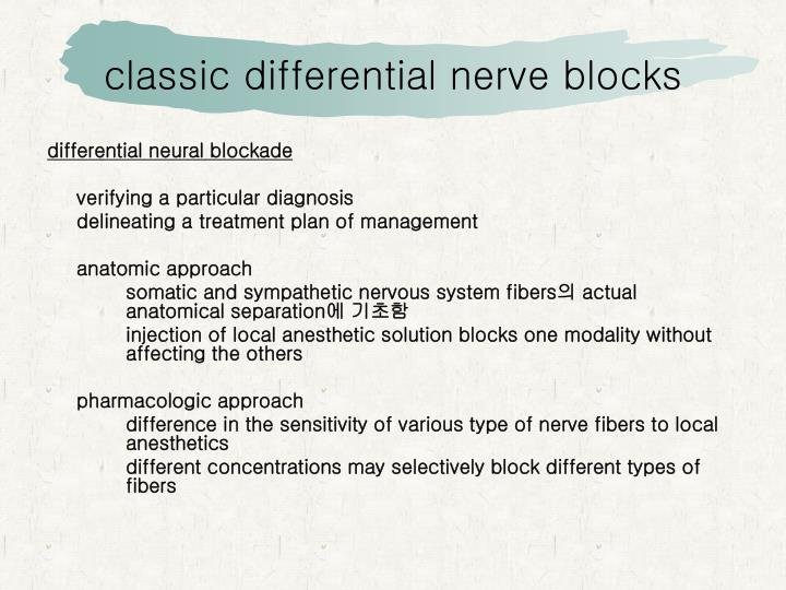 Classic differential nerve blocks