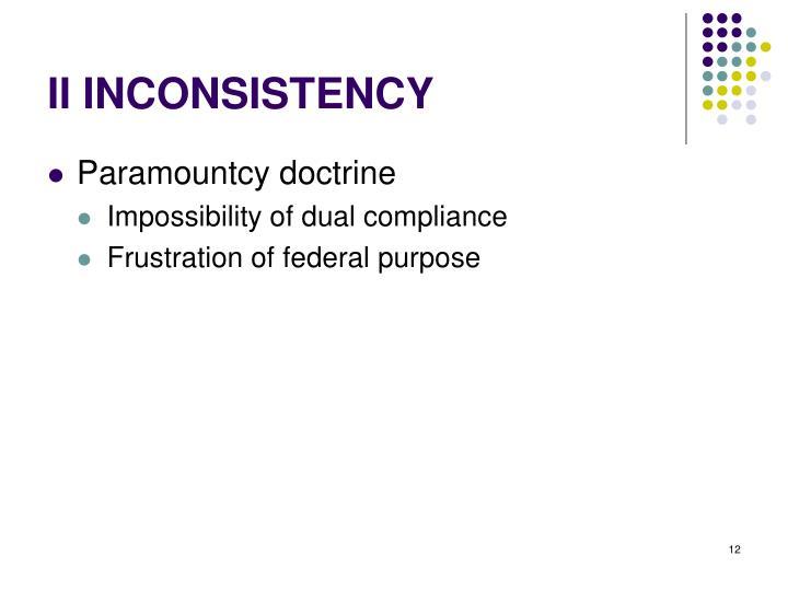II INCONSISTENCY