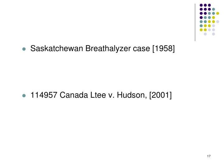 Saskatchewan Breathalyzer case [1958]