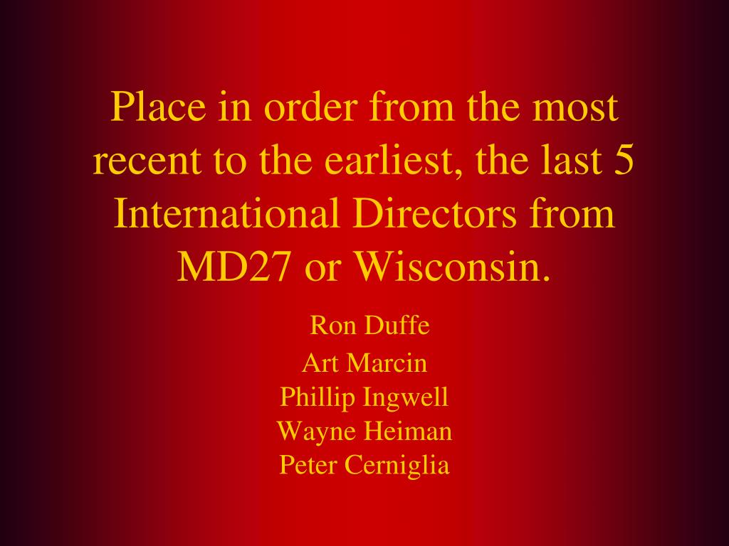 Place in order from the most recent to the earliest, the last 5 International Directors from MD27 or Wisconsin.