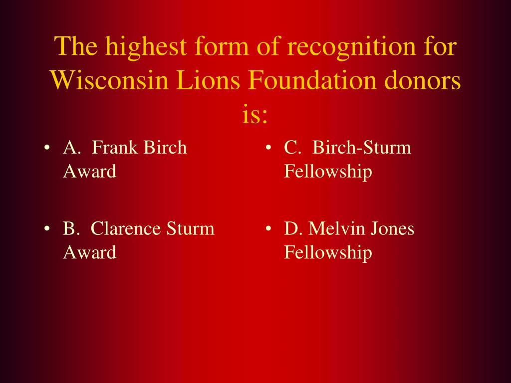A.  Frank Birch Award