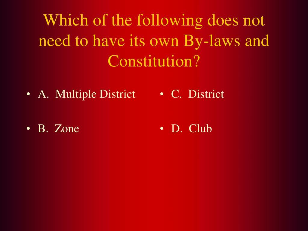 A.  Multiple District