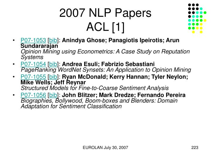 2007 NLP Papers