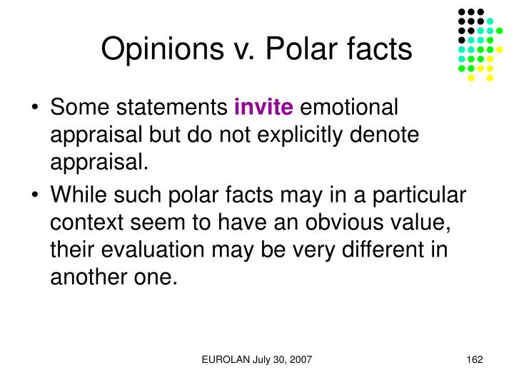 Opinions v. Polar facts