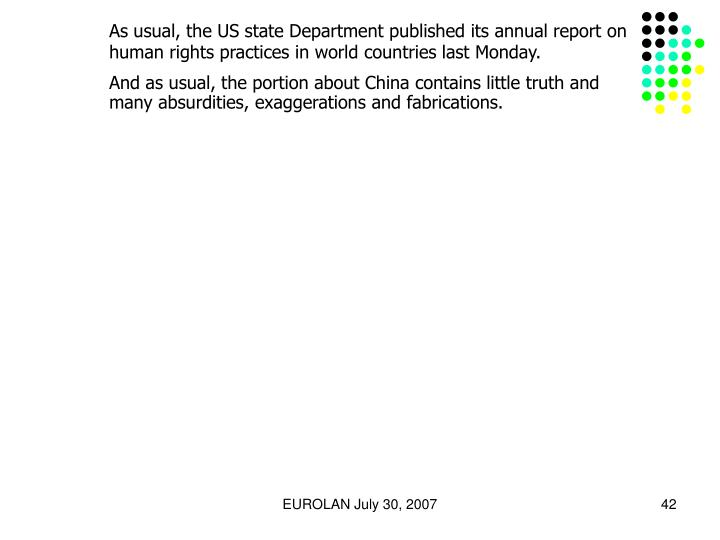 As usual, the US state Department published its annual report on human rights practices in world countries last Monday.