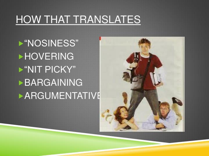 How that translates