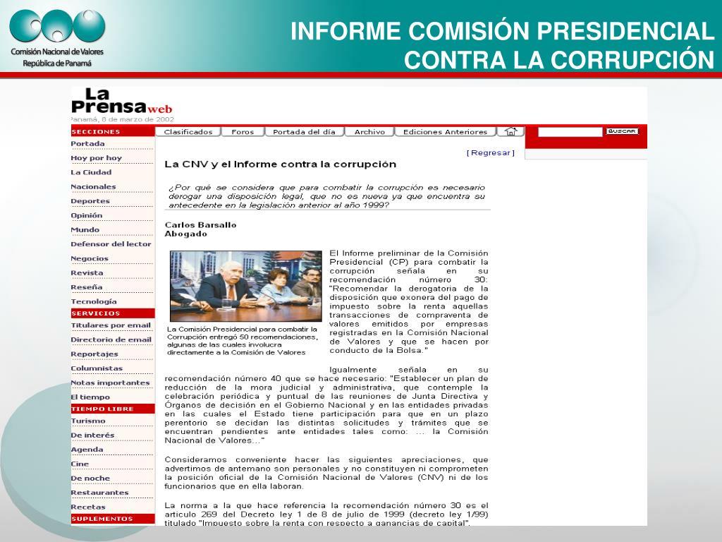 INFORME COMISIÓN PRESIDENCIAL CONTRA LA CORRUPCIÓN