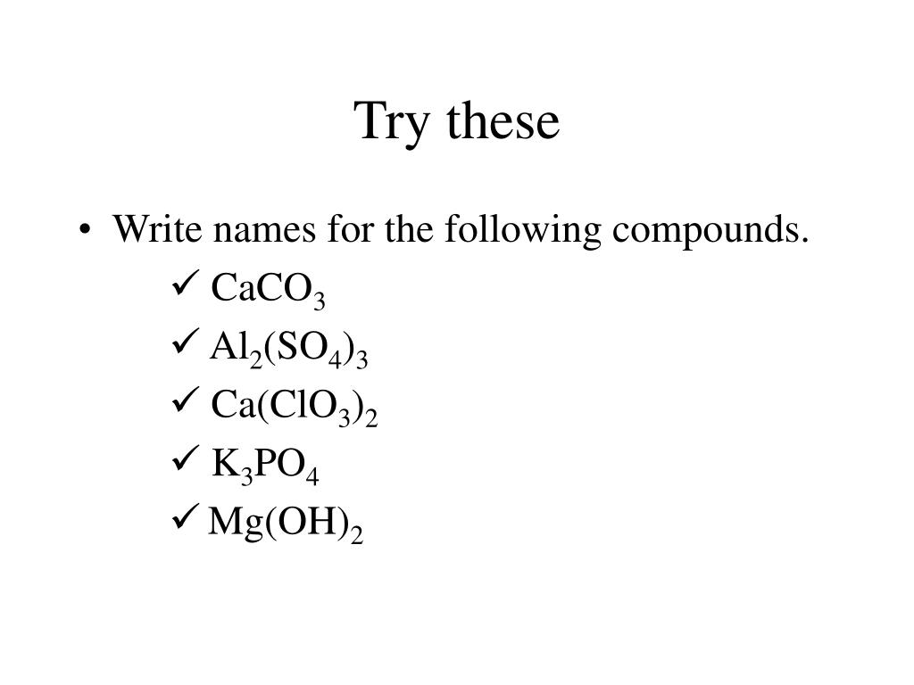 PPT - Polyatomic Ions Writing Formulas / Naming Compounds ...