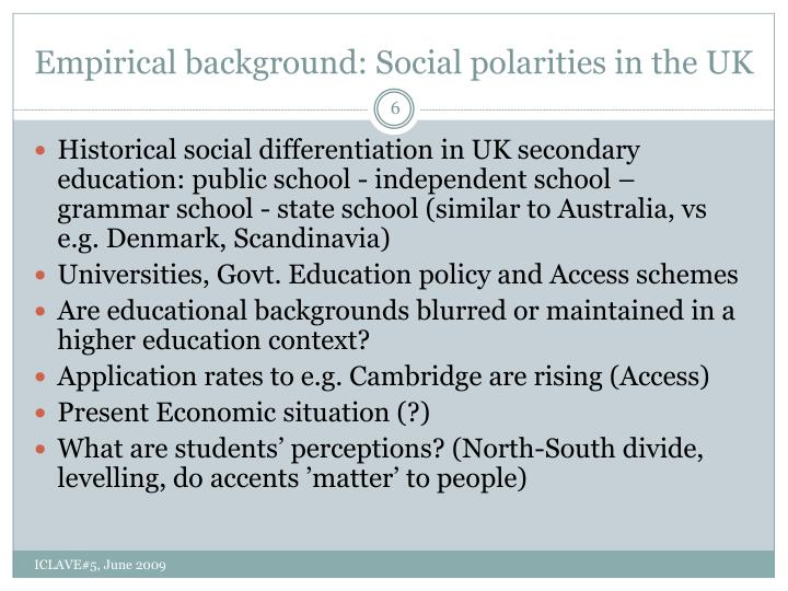 Empirical background: Social polarities in the UK