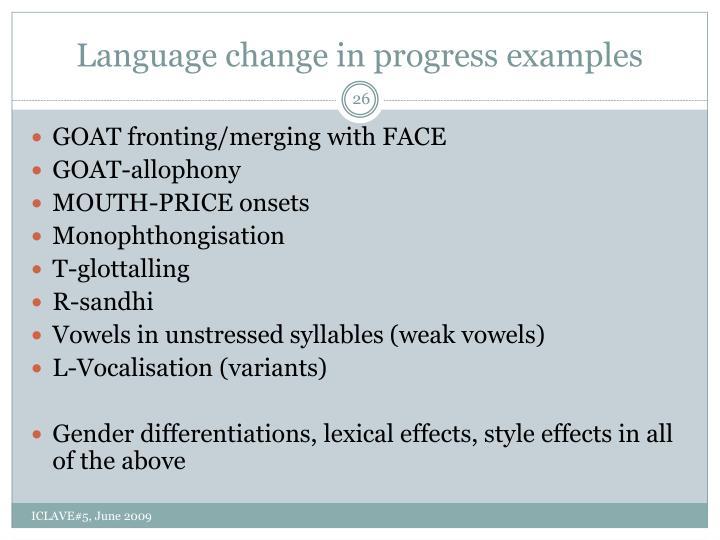Language change in progress examples