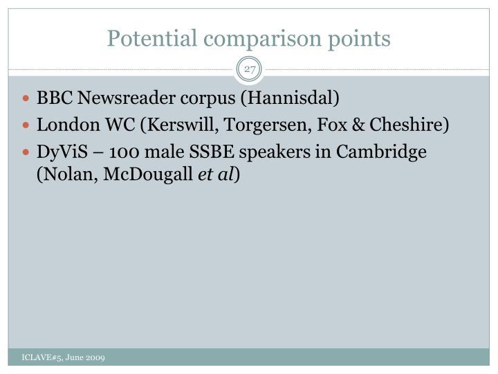 Potential comparison points