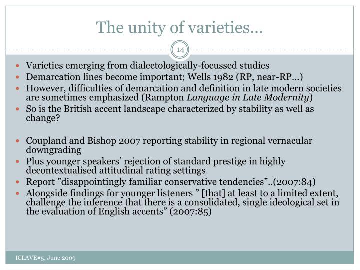 The unity of varieties...