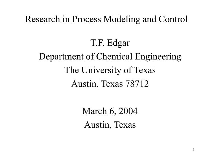 research in process modeling and control n.