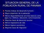situacion general de la poblacion rural de panama