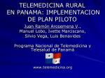 telemedicina rural en panama implementacion de plan piloto