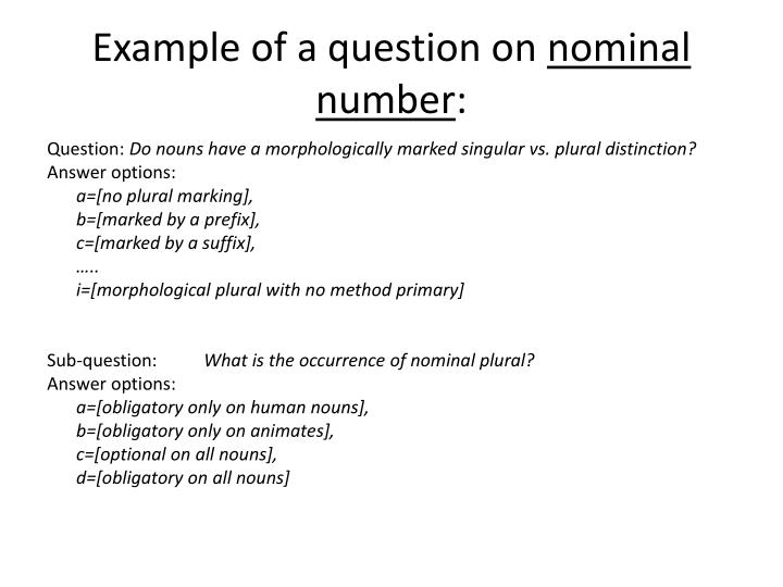 Example of a question on