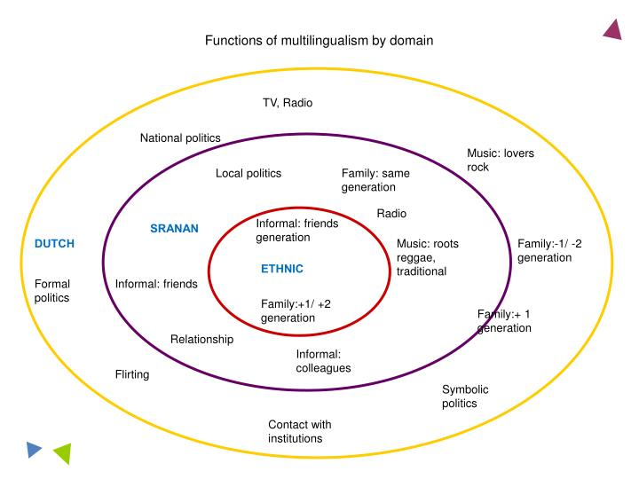 Functions of multilingualism by domain