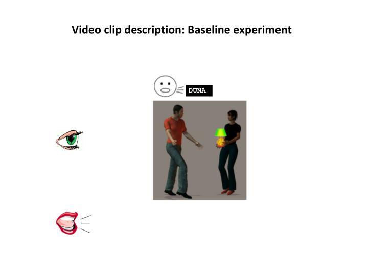 Video clip description: Baseline experiment