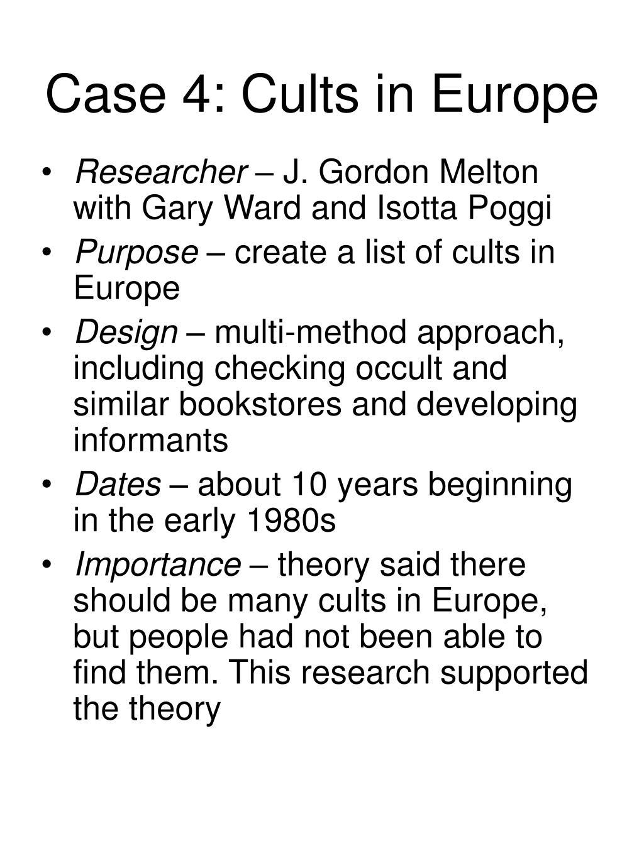 Case 4: Cults in Europe