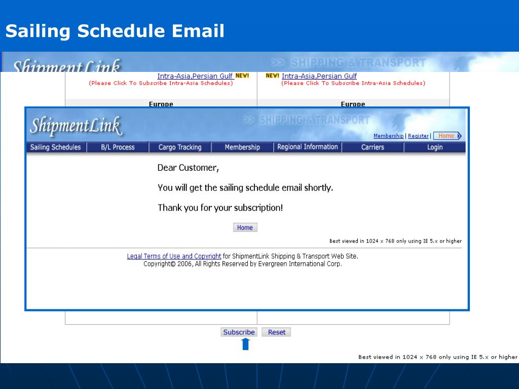 Sailing Schedule Email
