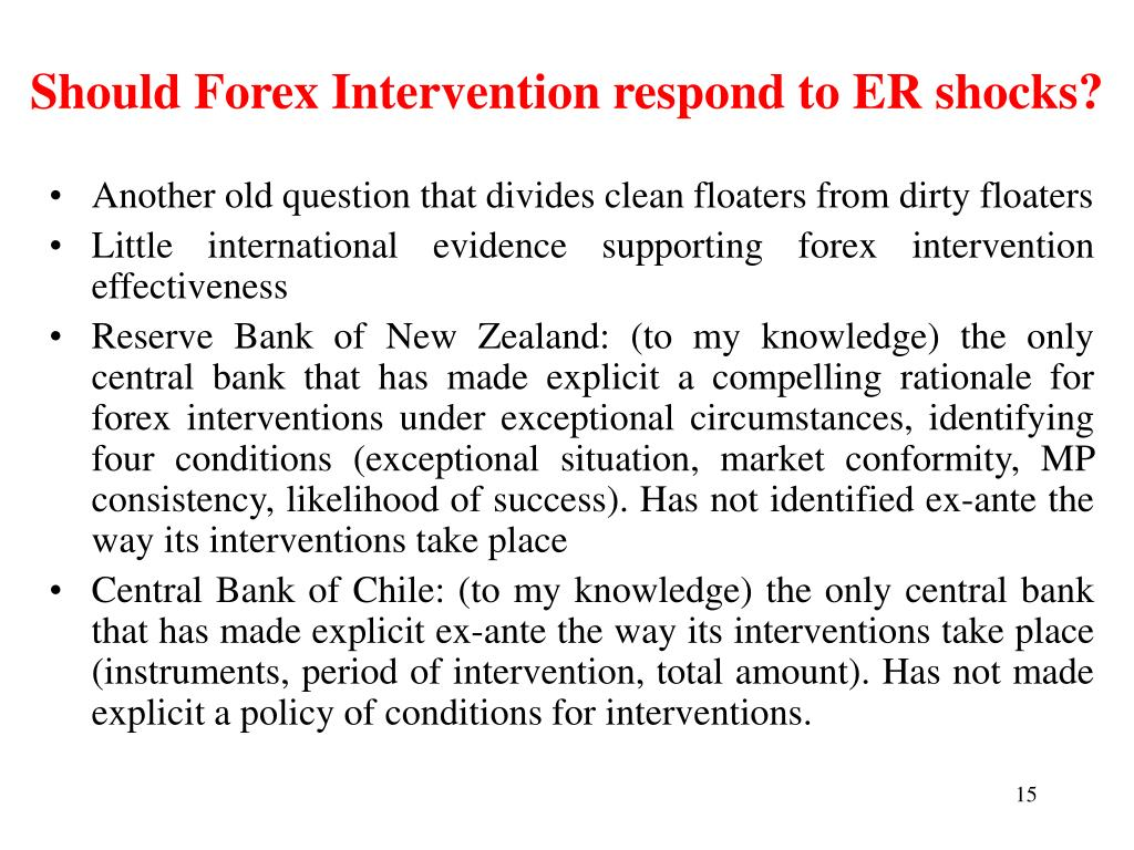 Should Forex Intervention respond to ER shocks?