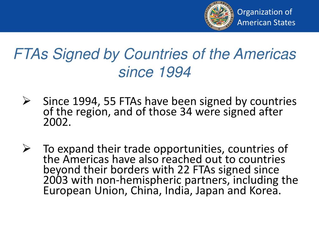 FTAs Signed by Countries of the Americas since 1994
