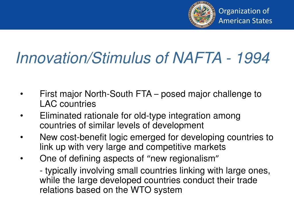 Innovation/Stimulus of NAFTA - 1994