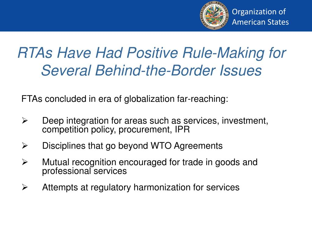 RTAs Have Had Positive Rule-Making for Several Behind-the-Border Issues