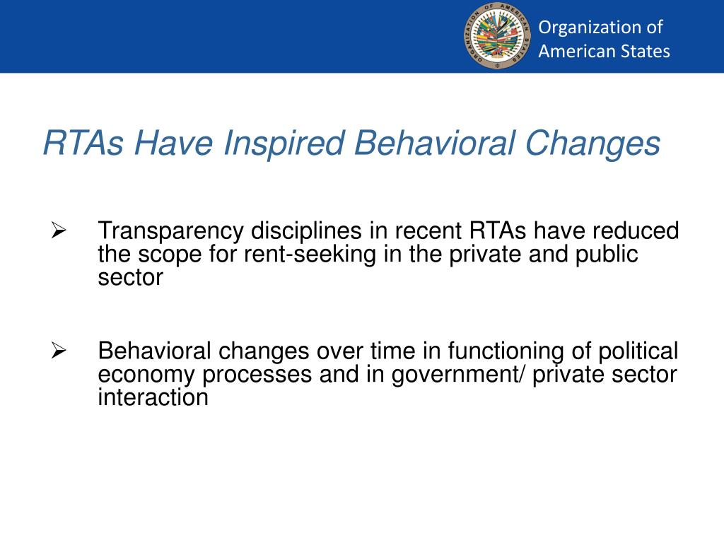 RTAs Have Inspired Behavioral Changes