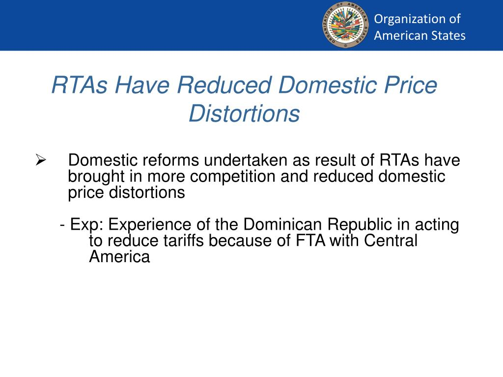 RTAs Have Reduced Domestic Price Distortions