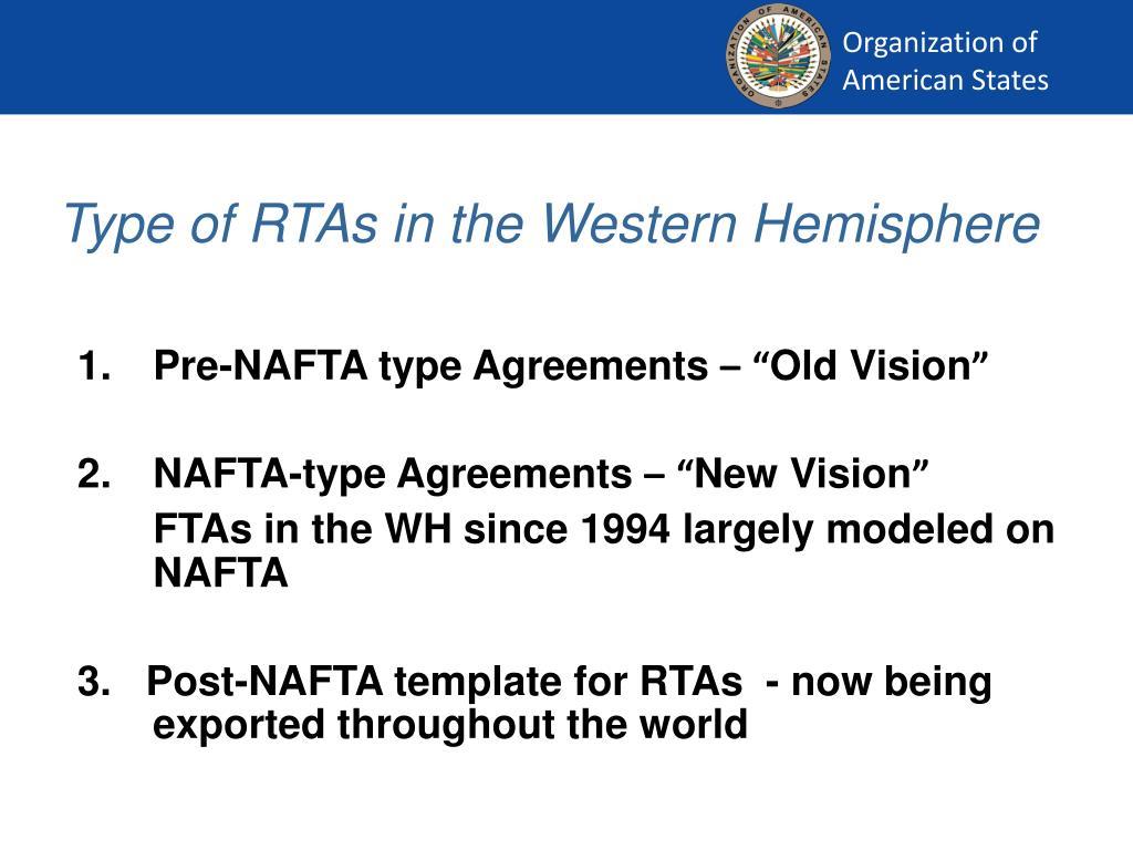 Type of RTAs in the Western Hemisphere