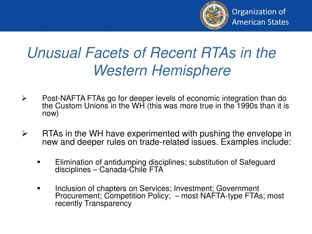 Unusual Facets of Recent RTAs in the