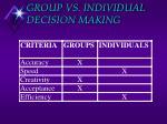 group vs individual decision making