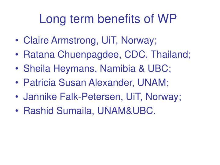 Long term benefits of WP