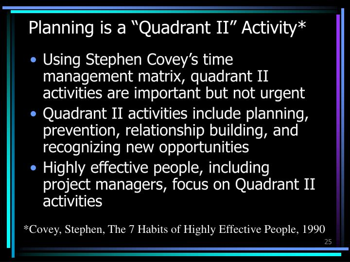 "Planning is a ""Quadrant II"" Activity*"