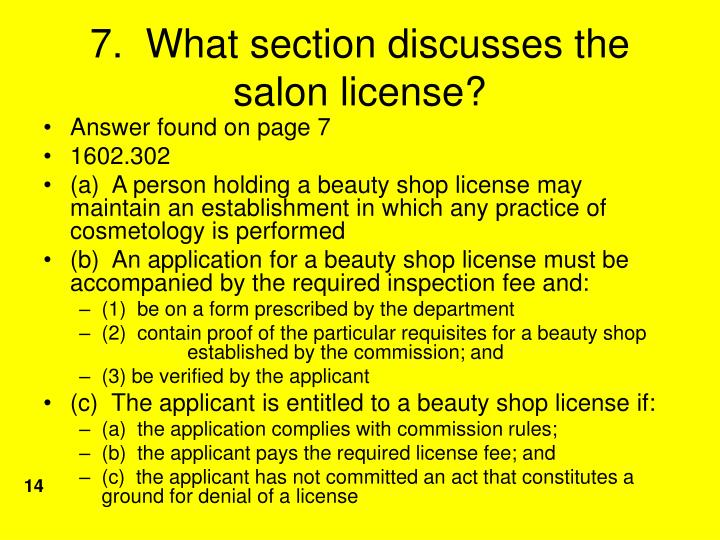 7.  What section discusses the salon license?
