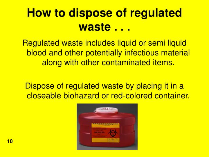 How to dispose of regulated waste . . .