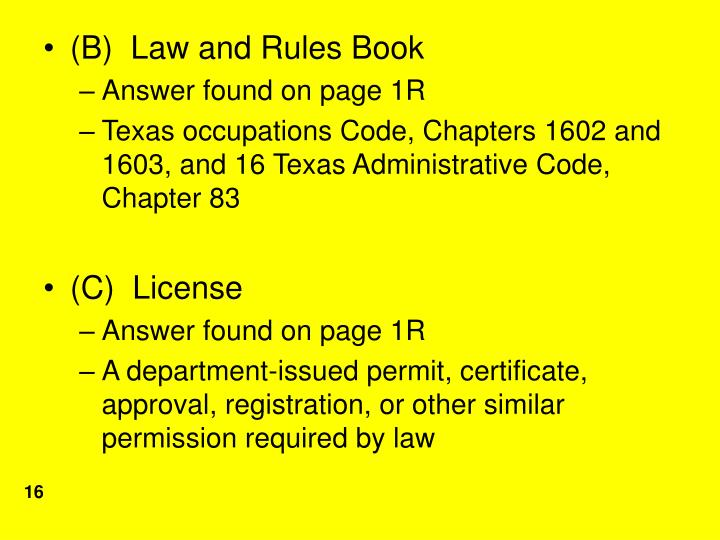 (B)  Law and Rules Book