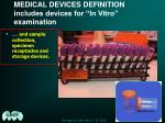 medical devices definition includes devices for in vitro examination24
