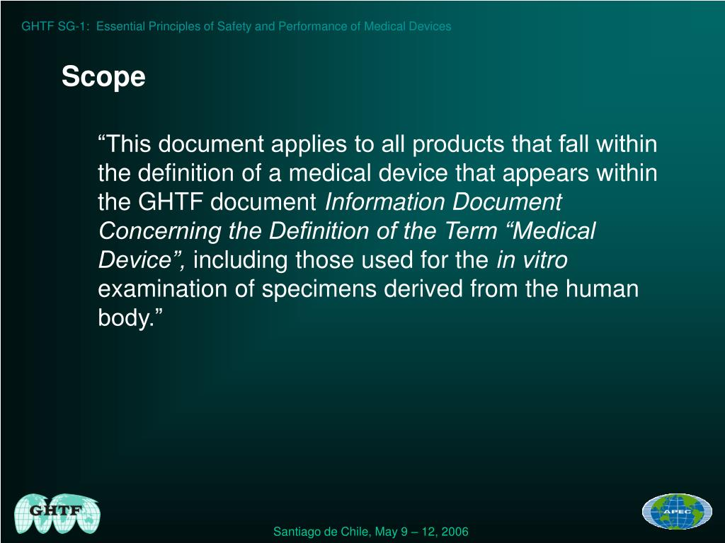 GHTF SG-1:  Essential Principles of Safety and Performance of Medical Devices