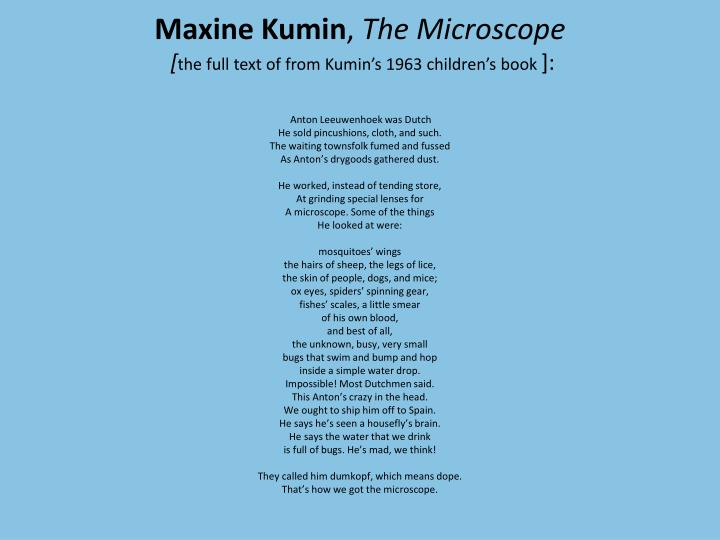 the microscope by maxine kumin
