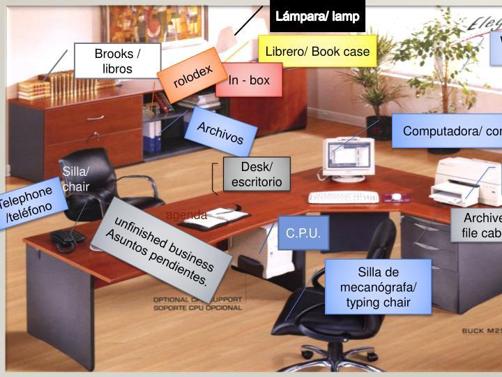 Ppt partes de la oficina powerpoint presentation id for Ingles en la oficina