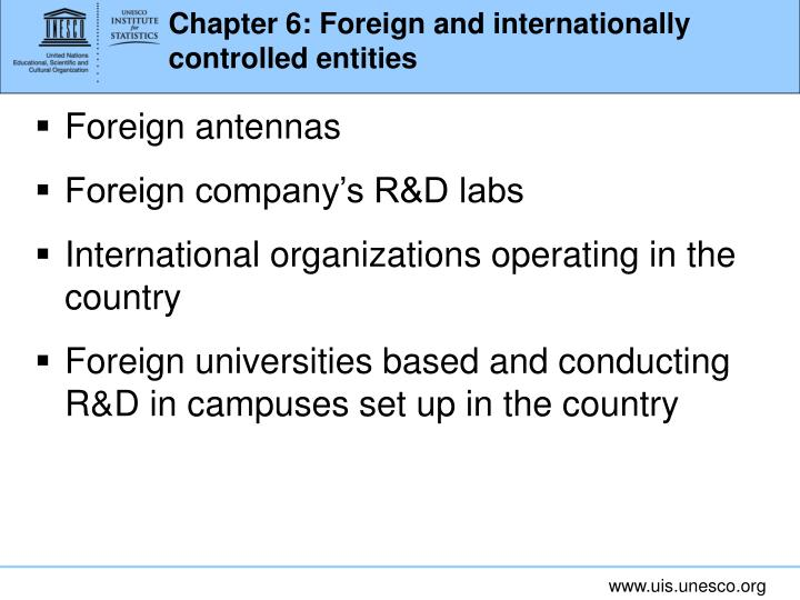 Chapter 6: Foreign and internationally controlled entities