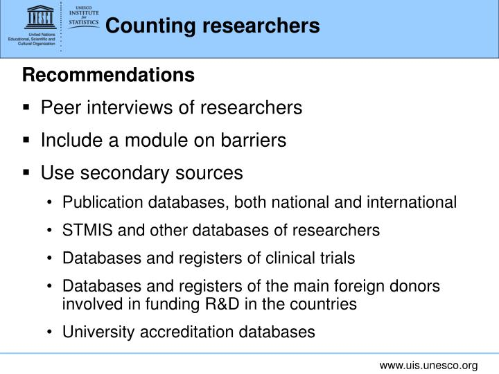 Counting researchers